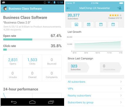 Мобильное приложение MailChimp